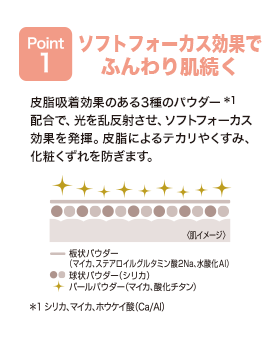 POINT1 ソフトフォーカス効果でふんわり肌続く