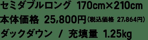 セミダブルロング 170cm×210cm 本体価格 25,800円(税込価格 27,864円) ダックダウン / 充填量 1.25kg