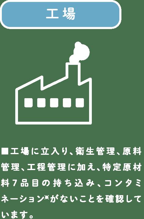 工場 ■工場に立入り、衛生管理、原料管理、工程管理に加え、特定原材料7品目の持ち込み、コンタミネーション※がないことを確認しています。