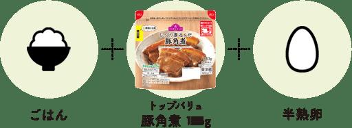 ごはん+トップバリュ豚角煮 125g+半熟卵