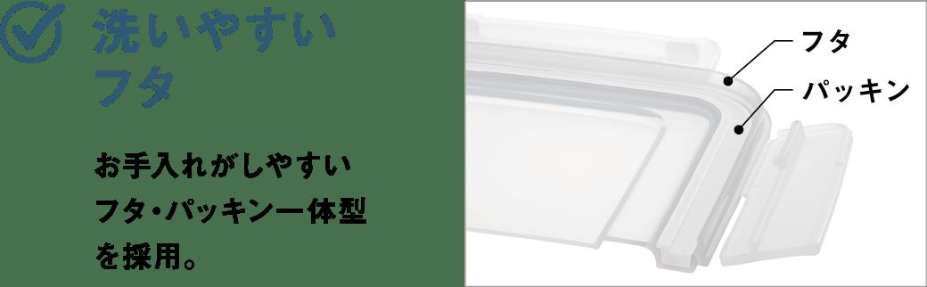 洗いやすいフタ お手入れがしやすいフタ・パッキン一体型を採用。