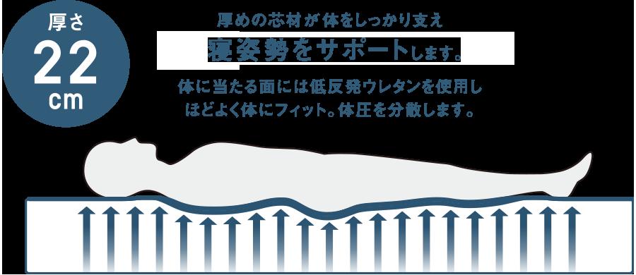 厚めの芯材が体をしっかり支え寝姿勢をサポートします。体に当たる面には低反発ウレタンを使用しほどよく体にフィット。体圧を分散します。