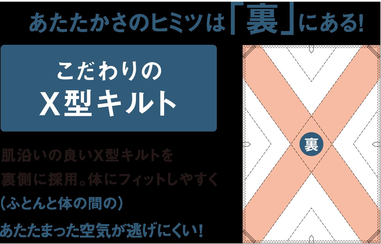 こだわりのX型キルト肌沿いの良いX型キルトを裏側に採用。体にフィットしやすく(ふとんと体の間の)あたたまった空気が逃げにくい!