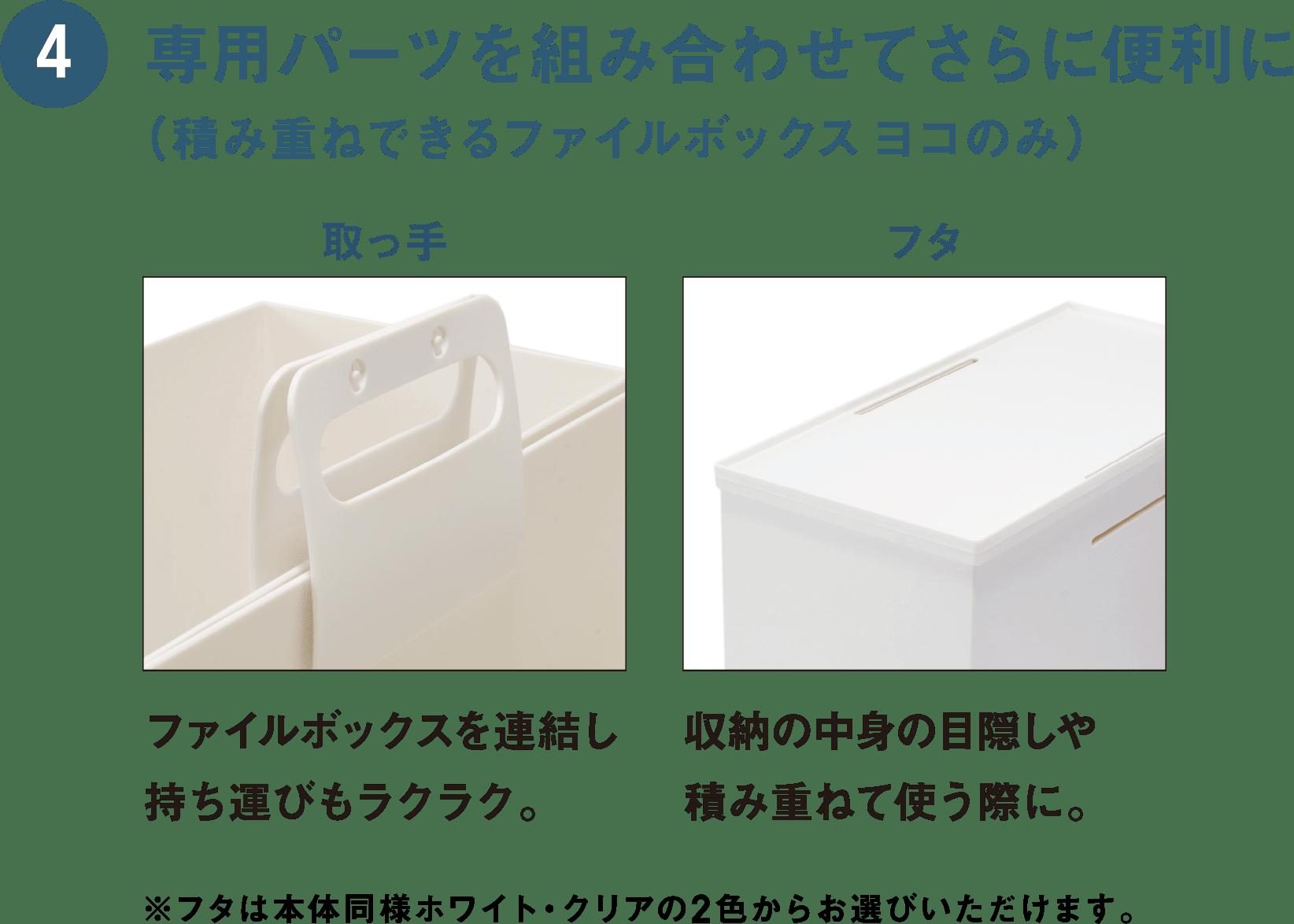 4 専用パーツを組み合わせてさらに便利に(積み重ねできるファイルボックスヨコのみ) 取っ手:ファイルボックスを連結し持ち運びもラクラク。 フタ:収納の中身の目隠しや積み重ねて使う際に。 ※フタは本体同様ホワイト・クリアの2色からお選びいただけます。
