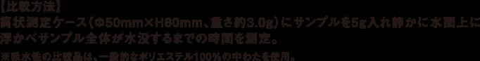 【比較方法】筒状測定ケース(Φ50mm×H80mm、重さ約3.0g)にサンプルを5g入れ静かに水面上に浮かべサンプル全体が水没するまでの時間を測定。※吸水性の比較品は、一般的なポリエステル100%の中わたを使用。