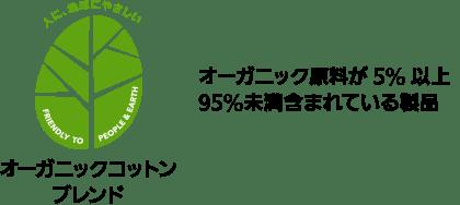 オーガニック原料が5%以上95%未満含まれている製品 オーガニックコットンブレンド