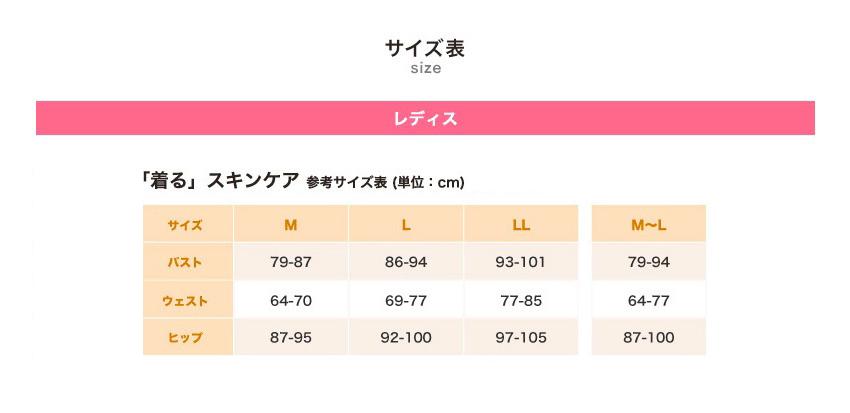 着るスキンケア 参考サイズ表